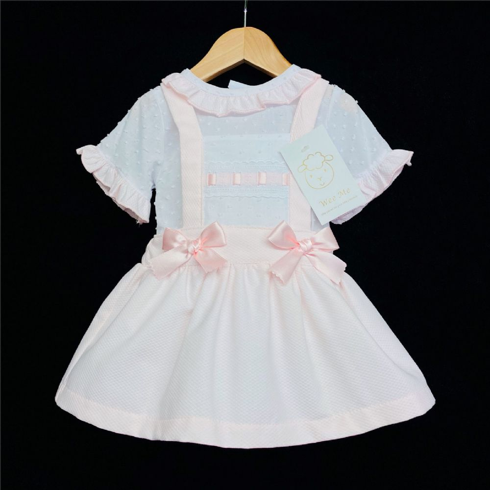 * Baby Girl Spanish Pink Waffle Pinafore Set Brace Skirt Set